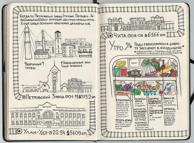 Улан-Удэ - Петровский Завод - Чита. Интересно, что она ещё застала старые неснесённые корпуса металлургического завода, значит, запискам более трёх лет (?). путешествие, рисунки