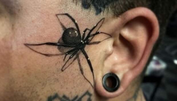 Мастер тату из США впечатляет новым трендом – 3D-рисунком ядовитого паука