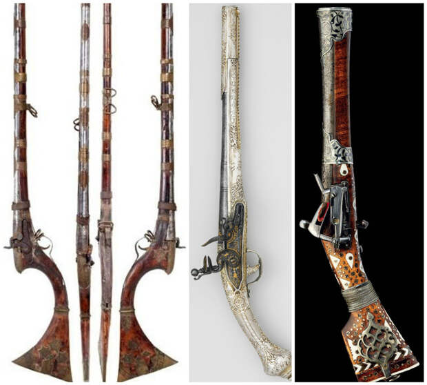 Индийский (Синд) фитильное ружье, 18-го века; Османский кремневый пистолет, 18-го века; Персидский (Каджаров) мушкетон, в начале 19-го века искусство, огнестрел, оружие, старинное