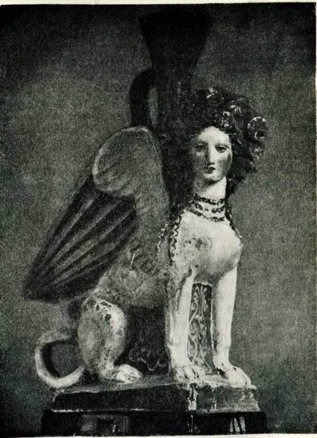 Фигурная расписная ваза-сфинкс из Фанагории. Начало IV в. до н. э. (Эрмитаж).