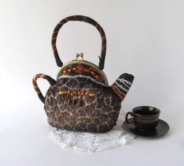 Felted teapot  purse Africa  brown dark tiger  handbag