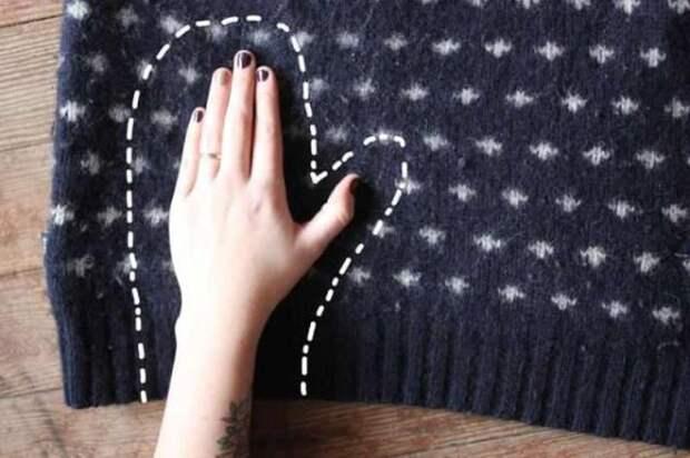 5. Варежки свитер, своими руками, совет, хитрости