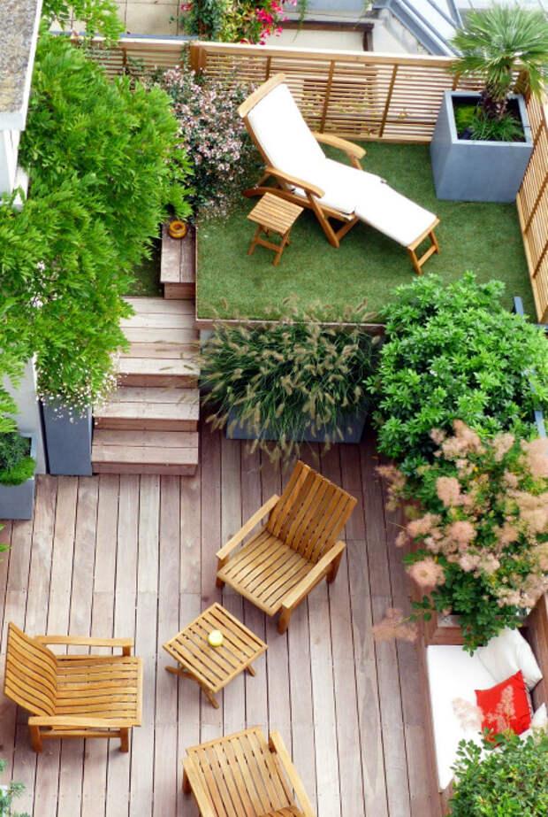 Двухъярусное патио.   Фото: Garden Ideas.