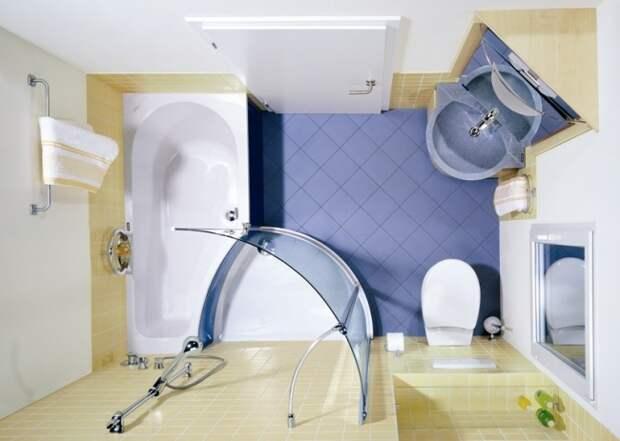 При расстановке всех элементов по углам комната визуально становится просторнее.