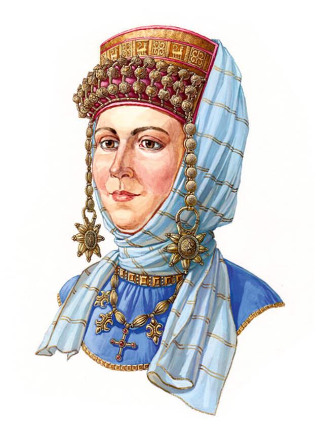 Русская женщина в  уборе с колтами  на ряснах и очельем, вторая половина XII века.