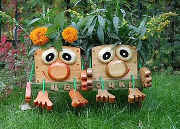забавные садовые горшки