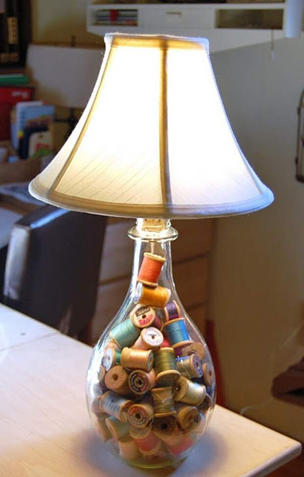 thread lamp. could make these all the same colour for more chic look