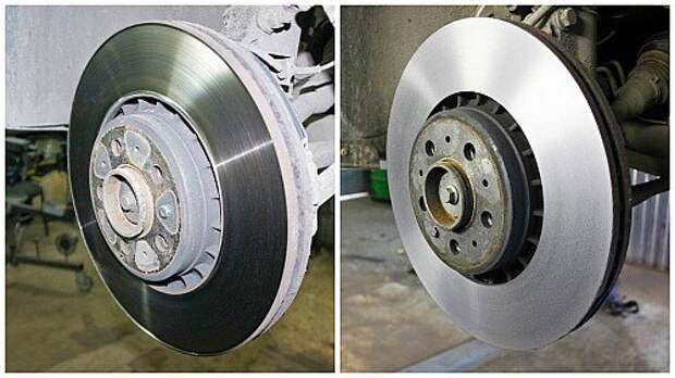 Слева – тормозной диск до обработки. Хорошо видна внешняя фаска от выработки. Ничего страшного: толщина диска позволяет его точить. Справа – обработанный диск, потерявший лишь 0,25 мм толщины.