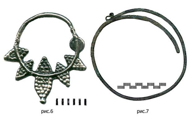 Лучевое ложнозерненое литое височное кольцо VIII-XIII вв., (рис. 6) / Браслетообразное проволочное височное кольцо, (рис. 7).