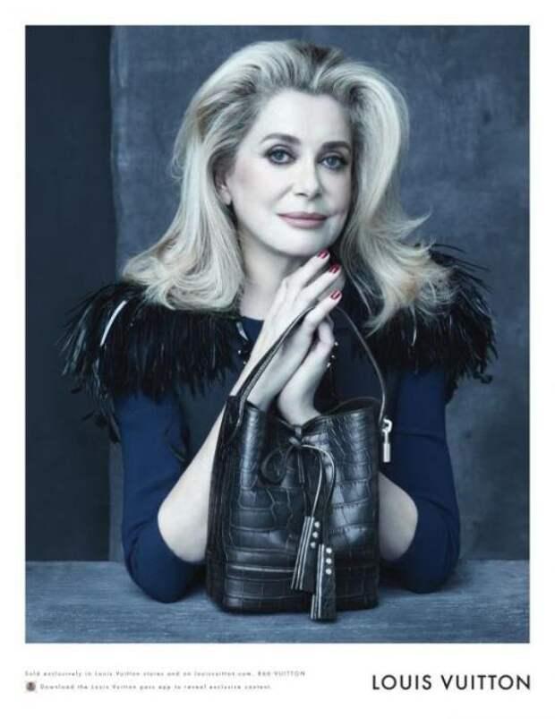 Катрин Денев (Catherine Deneuve). Возраст: 70 лет. Кампания: Louis Vuitton.