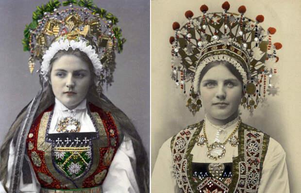 Норвежские невесты в национальных костюмах.