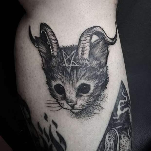 Самые креативные татуировки с кошками