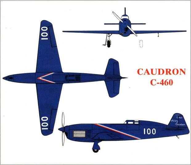 схема гоночного и рекордного самолета Caudron C-460; рисунок инженера З. Одехнала