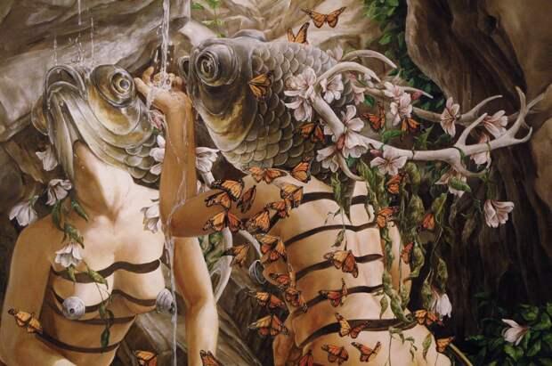 Люди с головами рыб, истерзанные тела и бабочки: психоделический мир грузинской художницы
