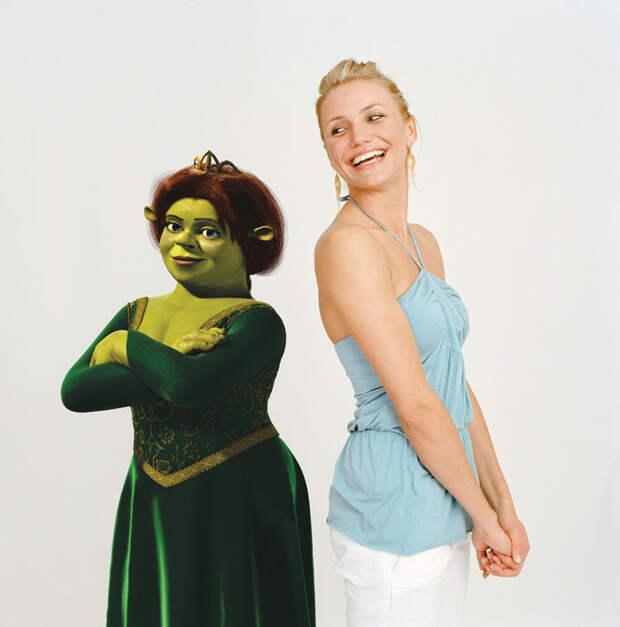 Камерон Диаз (Cameron Diaz) и Антонио Бандерас (Antonio Banderas) в фотосессии для фильма «Шрек 2» (Shrek 2) (2005), фото 2