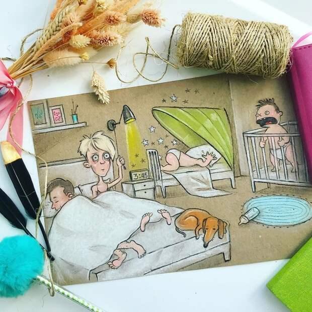 Мама двоих детей нарисовала свои будни.