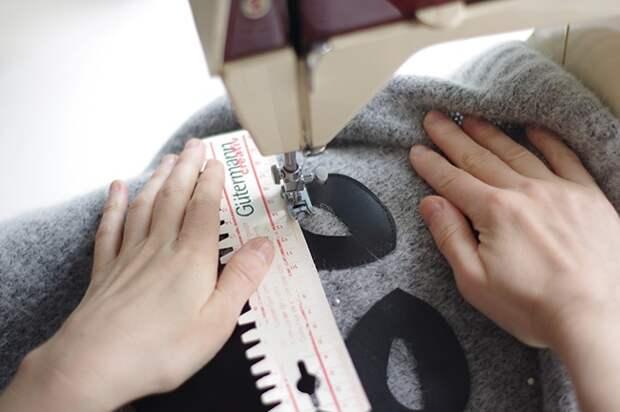 правильно и аккуратно сделать аппликацию из натуральной кожи на свитере.