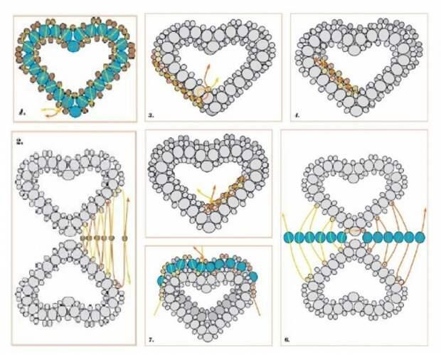 как сплести сердце из бисера, схема бисерных сердечек , валентинка из бисера