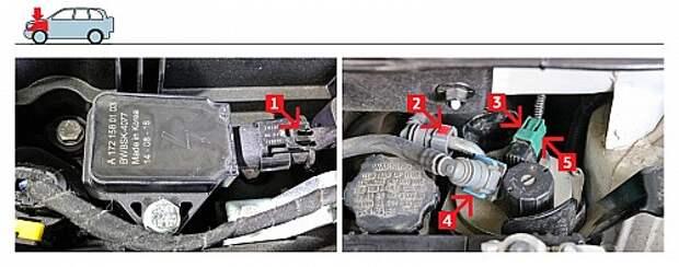 Чтобы снять разъем катушки зажигания, нажимаем на язычок фиксатора (1). Для снятия разъема обогрева дизельного топливного фильтра (2) нажимаем на язычок фиксатора (3). Демонтируем топливные магистрали, выдвинув синий стопор (4) одного крепления и нажав на красный замок (5) другого.