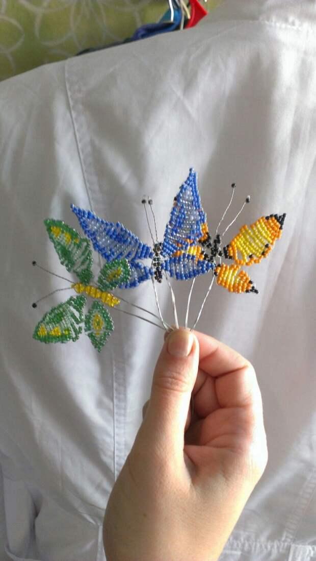 Бабочки из бисера в машину (Diy)