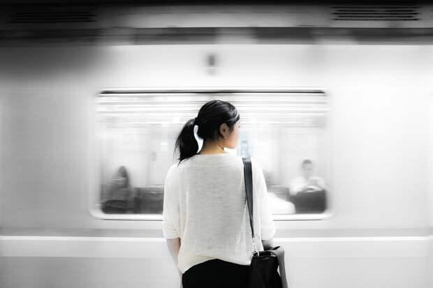 Железнодорожный Вокзал, Cummuter, Метро, Поезд, Женщина