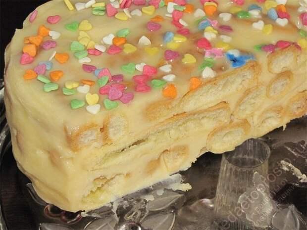 вот так торт Дамские пальчики выглядит на разрезе