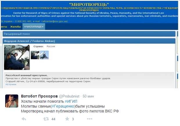 Украинский сайт «Миротворец» начал публиковать данные якобы российских пилотов