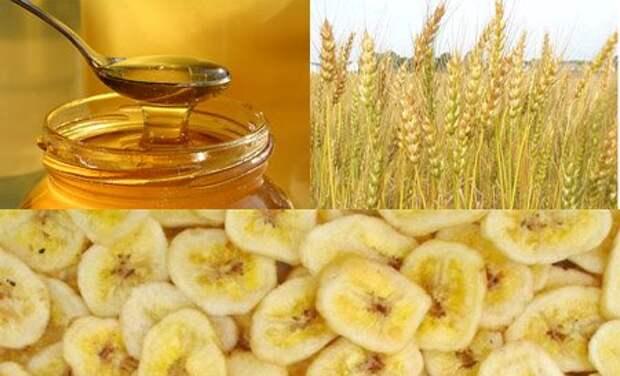 мед, пшеница и банан