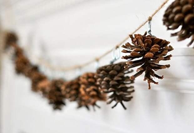 Использование шишек для новогоднего декора