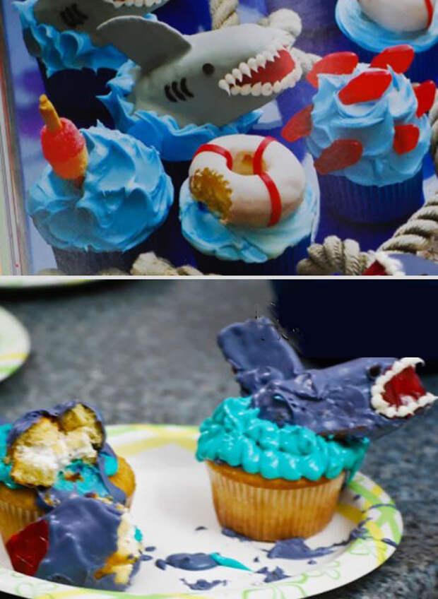 Кексы с акулами еда, ожидание, провал, реальность