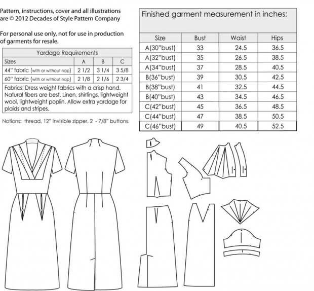 Выкройка платья 1950-х годов