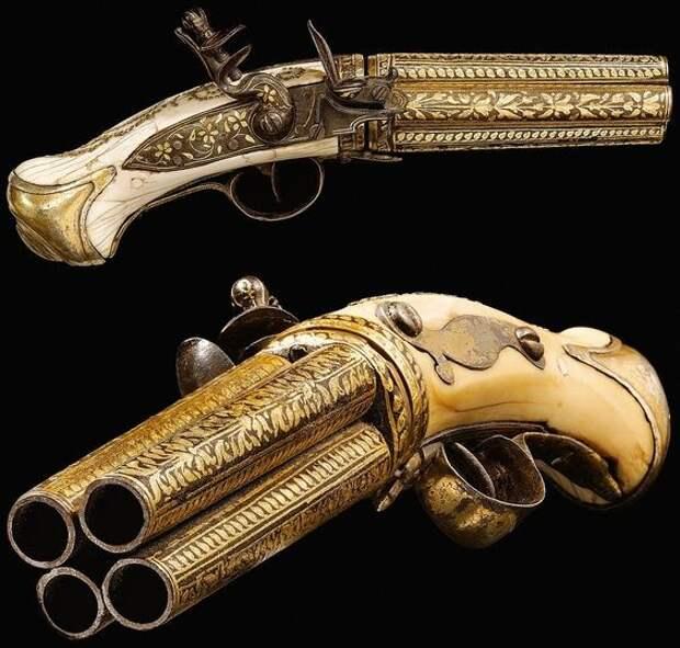 Индо-персидской кремневый пистолет, 19-го века, на 4 ствола искусство, огнестрел, оружие, старинное