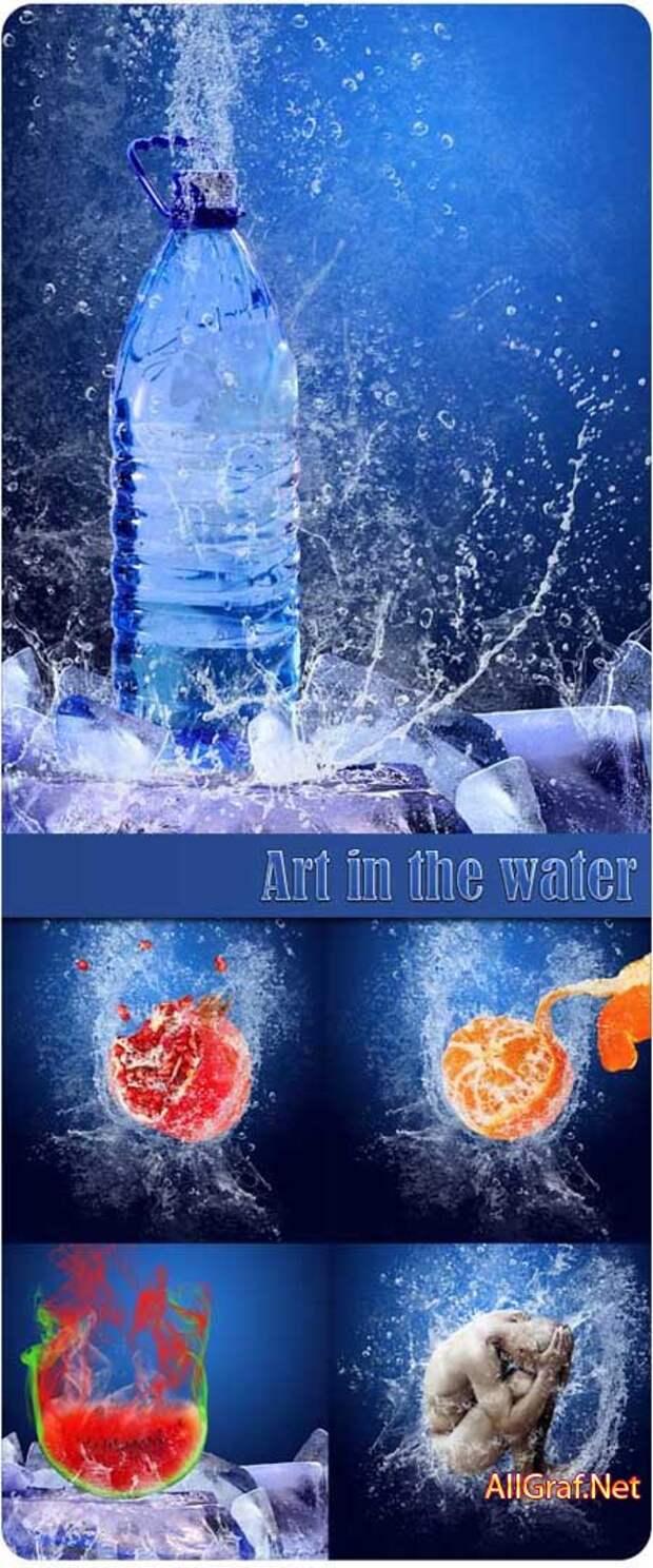 Арт предметы и фрукты в воде