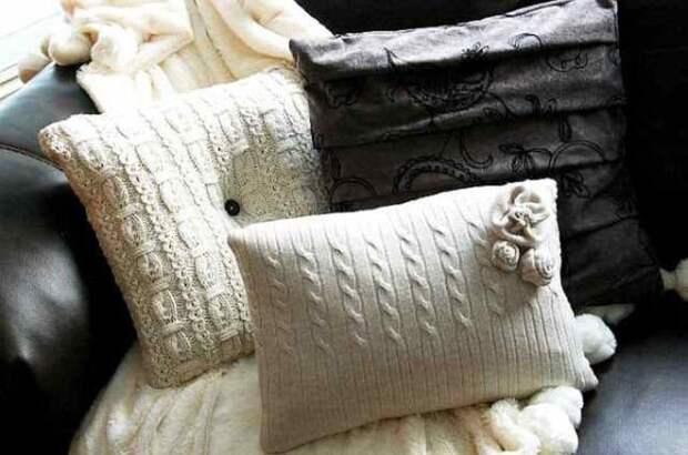 2. Милые подушки свитер, своими руками, совет, хитрости