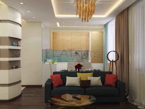 Дизайн-проект двухкомнатной квартиры, диван в гостиной, яркие подушки на диване