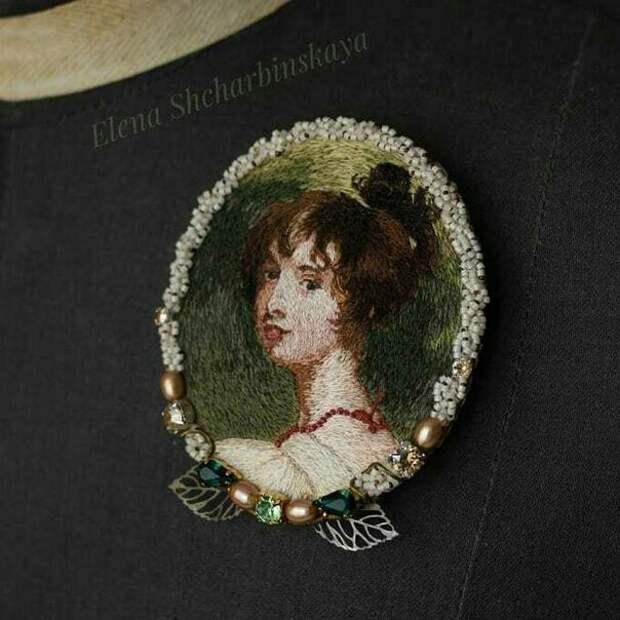 Вышитые броши - портреты от  Елены Щербинской