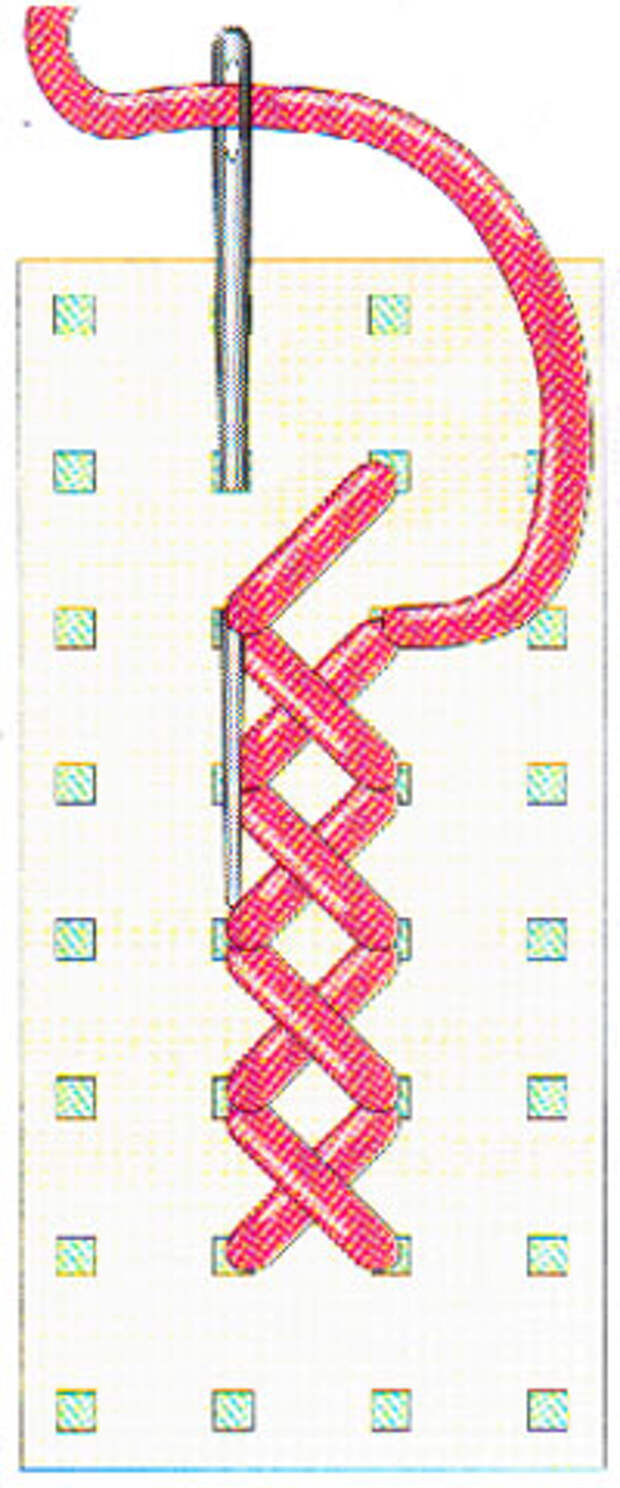 Вышивание крестиком по вертикали. Движение вперед (фото 7)