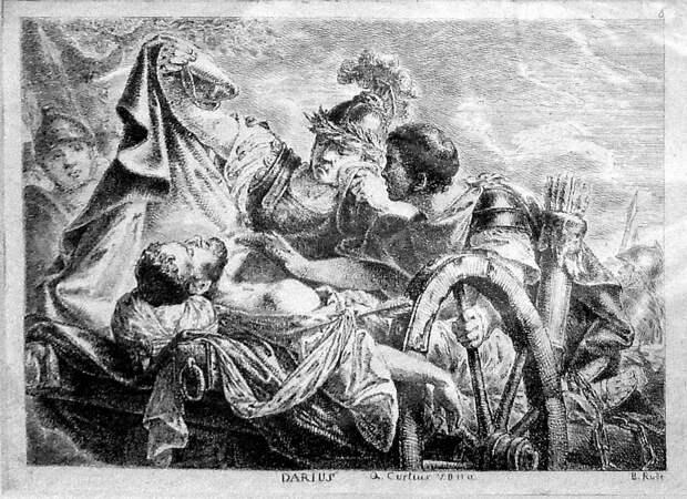 Александр укрывает тело Дария плащом. <br>
