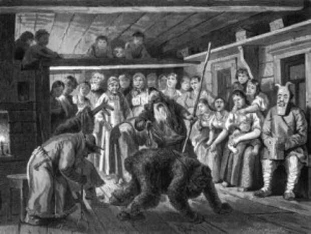 Святки в деревне. Коляда. Гравюра 1880гг