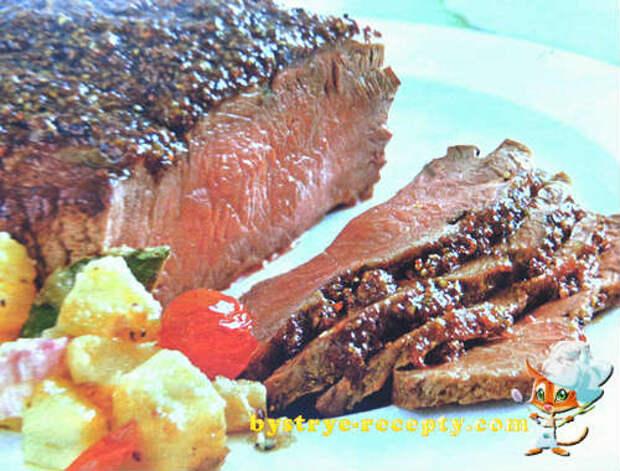 Сочный маринованный ростбиф из говядины