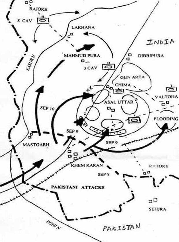 Карта боёв при Асал-Утаре 9–10 сентября 1965 года - Индо-пакистанская война 1965 года: танковое сражение за Асал-Утар | Военно-исторический портал Warspot.ru