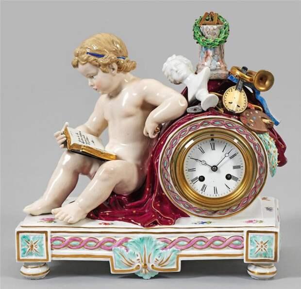 антикварный фарфор часы - 02