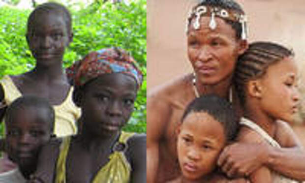 Слева – негры из Камеруна. Справа – бушмены. Источники: http://joshuaproject.net/people_groups/ 13560/CM, https://www.pinterest.com/leannecake11/ khoisan-tribemy-ancestors/