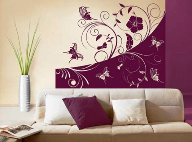 Рисунки на стенах в квартире – нетривиальный современный декор интерьера (80 фото)