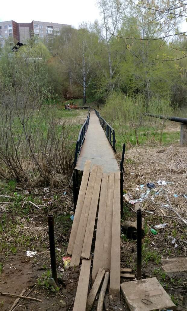 Мост через речку Подборенку в Ижевске собираются отремонтировать в августе 2019 года