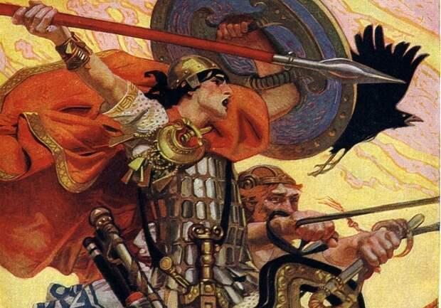 Кухулин, фрагмент иллюстрации Джозефа Кристиана Лейендекера (wikipedia.org)
