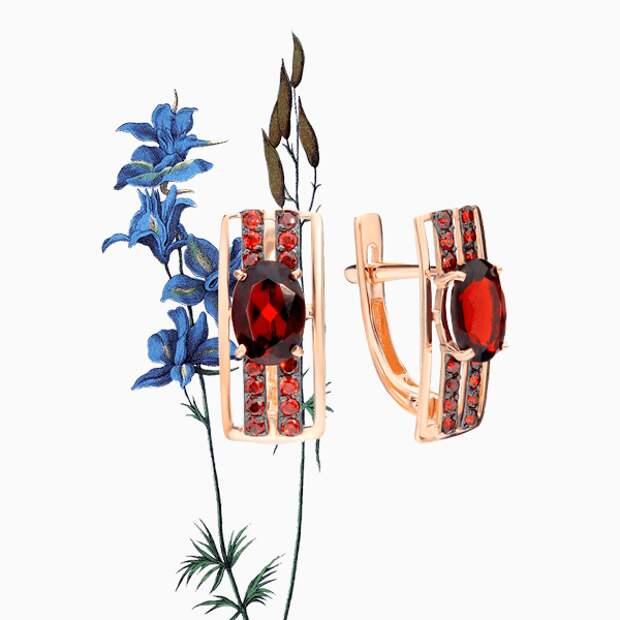 Серьги Maskom, розовое золото, гранат, фианиты