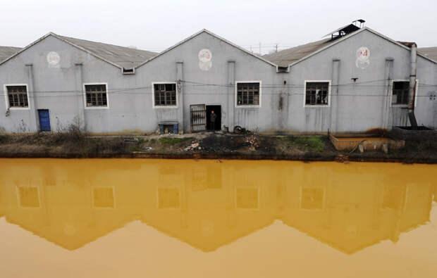 19. Загрязнённая река в Цзясине, провинция Чжэцзян загрязнение, китай, экология