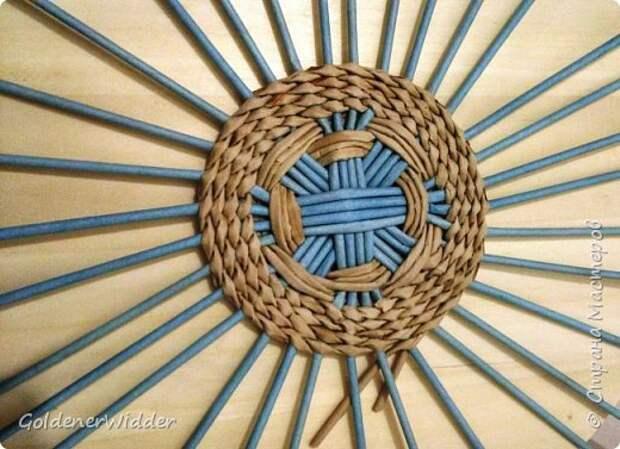 Мастер-класс Плетение Панно 40 см Спиральное плетение Бумага газетная Трубочки бумажные фото 5