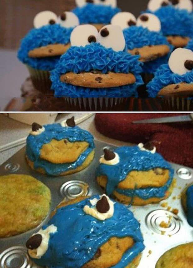 Кексы-монстры с печеньем еда, ожидание, провал, реальность